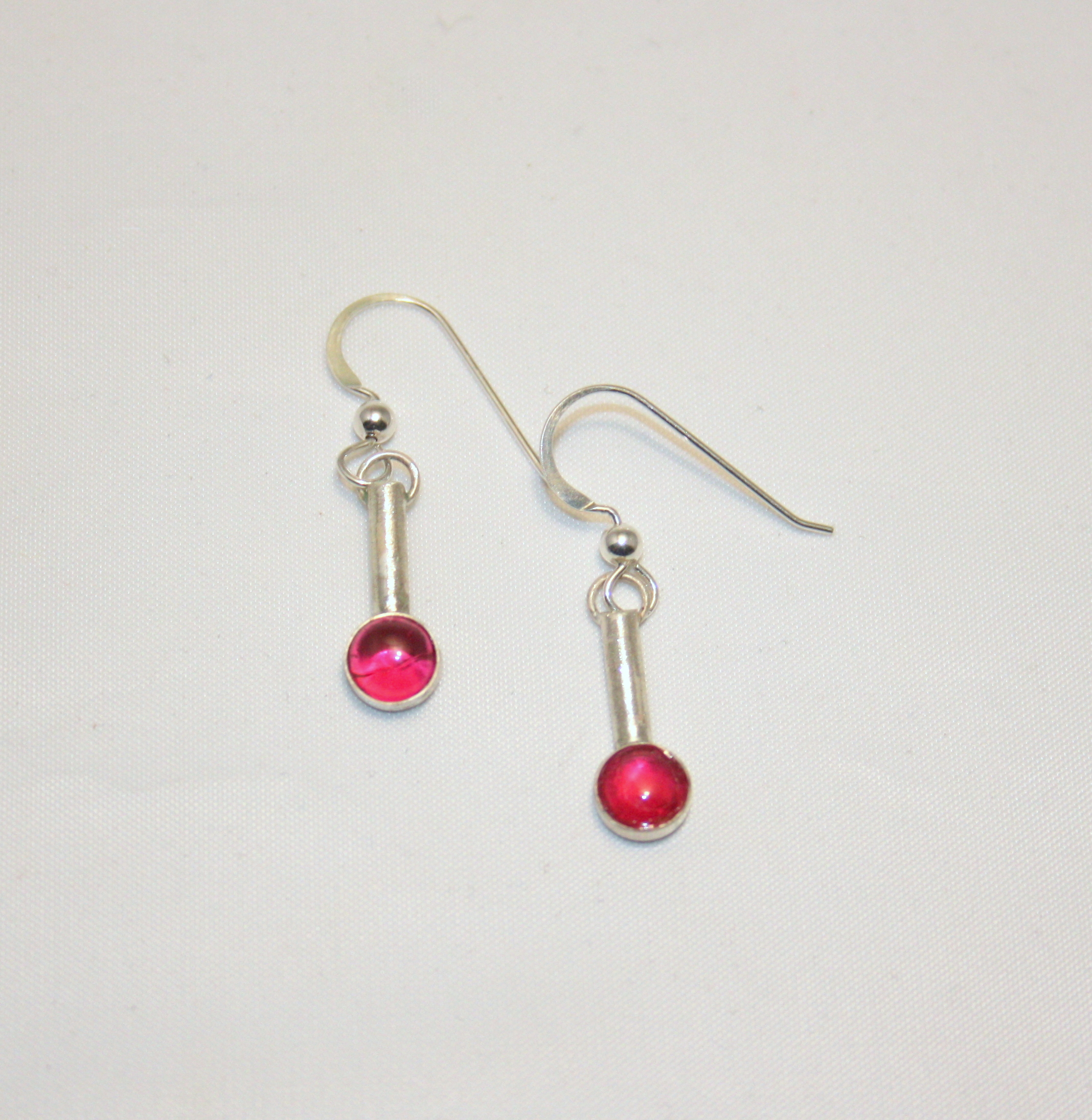 Ruby & Silver Earrings